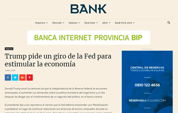 Nota Revista Bank - Trump pide giro de la Fed